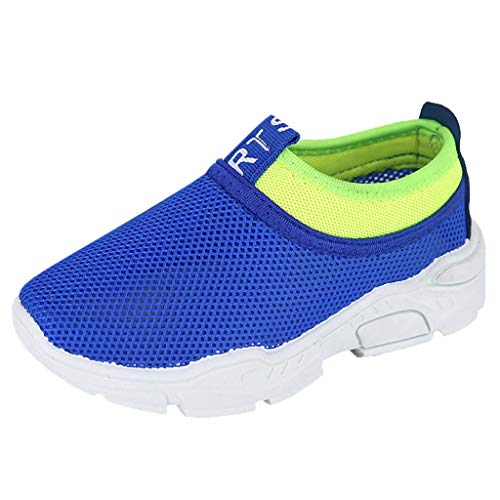 Kiminana Children's Boys and Girls Color Matching Sneakers Breathable Shoes mesh Shoes Running Children's Shoes Blue ()