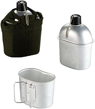 Bl/öchel Estilo ej/ército EEUU Exterior Cantimplora de Aluminio con jarro y Funda de Tela 1 litro Botella hidratante AT Digital A