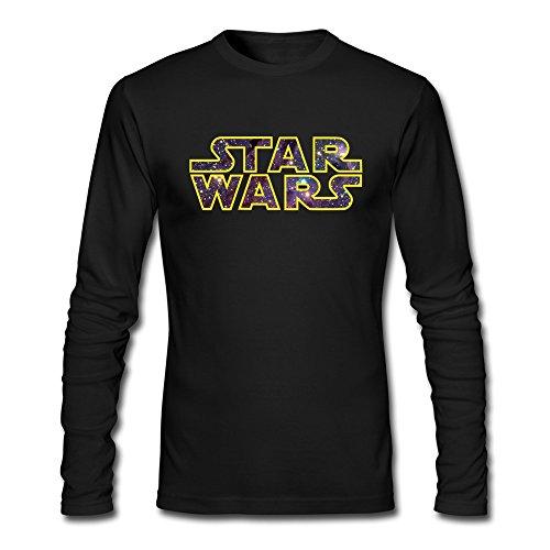 AOPO Men's Long Sleeve Star Wars Logo Tee Shirts Large Black