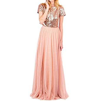 Honey Qiao Rose Gold Bridesmaid Dresses Short Sleeves Two