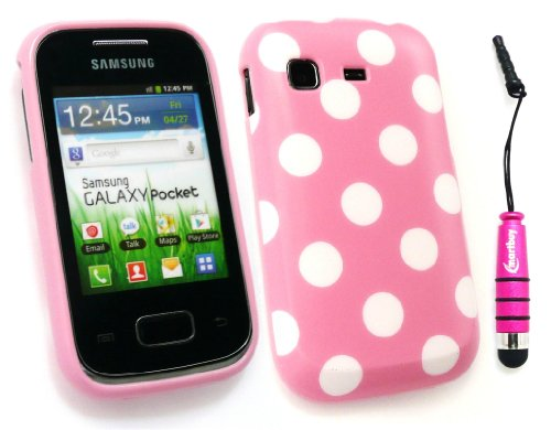 4c7af72e321 Emartbuy ® Stylus Pack Para Samsung S5300 Galaxy Pocket Mini Hot Pink  Metallic Stylus + Protector De Pantalla + Bebé Polka Dots Pink Gel Piel  Cubierta/Caso: ...