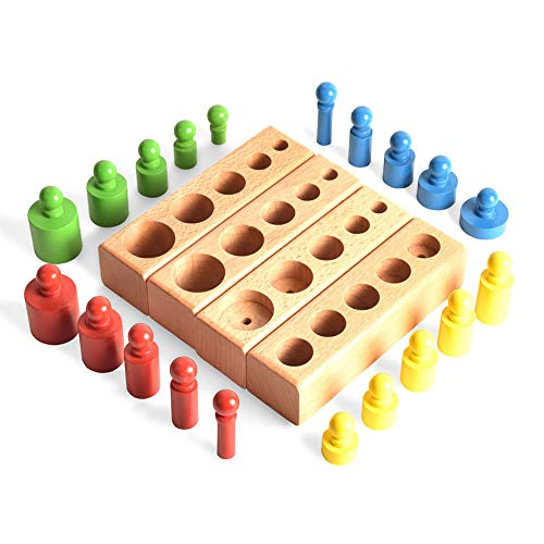 (BOHS (Shrunk Down Version) Home Montessori Colorful Wooden Knob Cylinder - Early Home School Toy - 4pcs/Set,5.8 Inches)