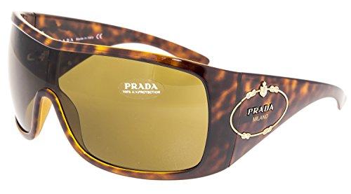 PRADA Rope Logo Oversized Shield Mask PR04HS Brown Tortoise 04H Sunglasses - Sunglasses Prada Wrap