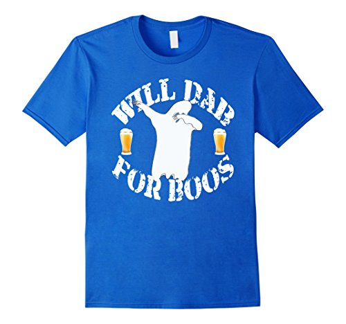 Mens Funny Halloween Dabbing Ghost T-Shirt Will Dab For Boos Small Royal Blue - Funny Play On Words Halloween Costume Ideas