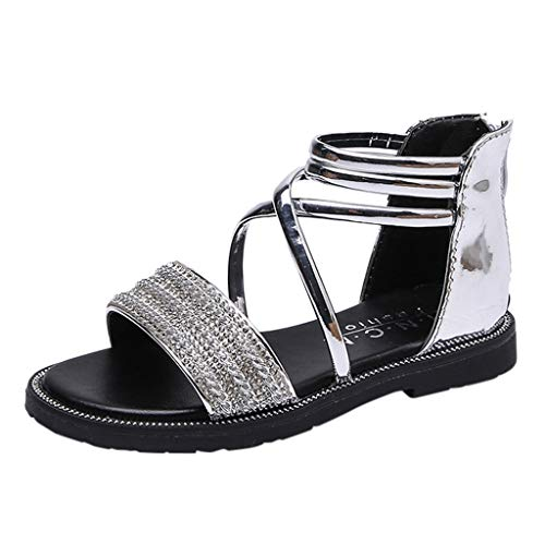 Mysky Fashion Toddler Infant Kids Baby Summer Popular Pure Color Crystal Criss Cross Belt Zipper Sandals Silver