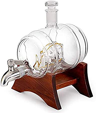 ESGT Juego De Decantador De Whisky De Barril, Juego De Regalo De Decantador De Licor De 1000 Ml, Soporte para Botella De Vino Artesanal, Juego De Vino para Bar