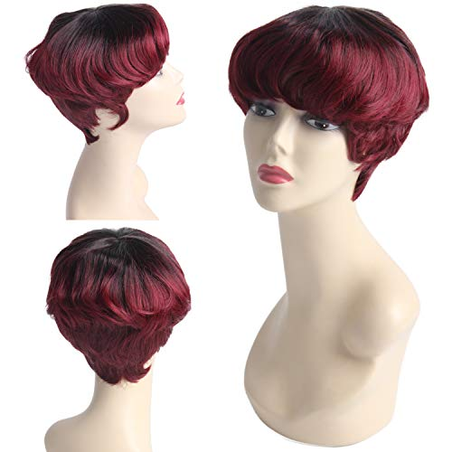 Jiayi Mushroom Human Hair Premium Blend Pixie Cute Wig Afro Short Bob Curly Style Haircut Wig with Bangs for Black Women Ombre Color #1B/Burgundy (Best Short Haircuts For Black Hair)