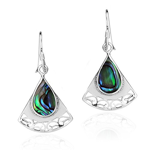 (Triangle Swirl Teardrop Abalone Shell .925 Sterling Silver Dangle Earrings)