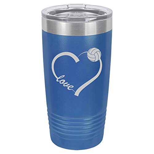 Tumbler Stainless Steel Vacuum Insulated Travel Mug Love Heart Volleyball (Blue, 20 oz)