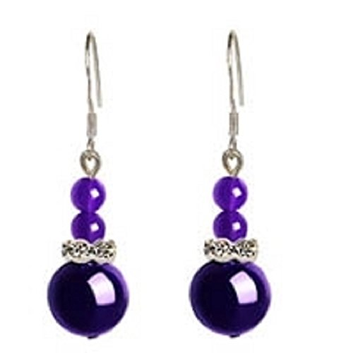- HJPRT (unique gourd earrings) korea creative women girls earrings earings dangler eardrop onyx silver jewelry sweet (deep purple chalcedony