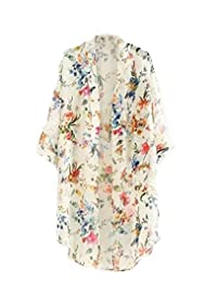Bluetime Women's 3/4 Sleeve Floral High Low Chiffon Kimono Cardigan Blouse