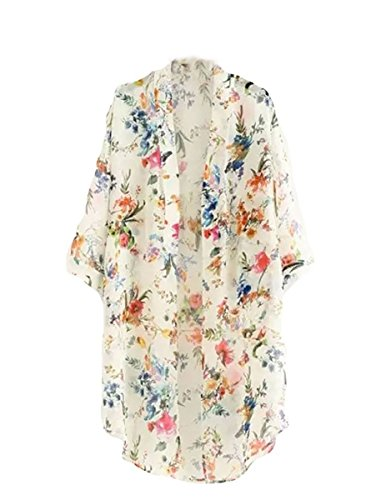 Bluetime Women's Light Loose Floral Print Chiffon Sheer Kimono Cardigan Blouses (M, White)