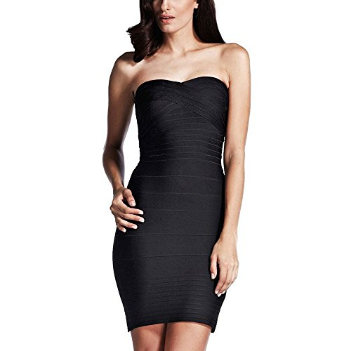 Bandage Hlbandage Bodycon Mini Sexy Strapless Women's Dress Nero q1qwZX