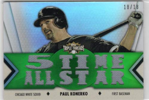 2012 Topps Triple Threads Relics Emerald #TTR158 Paul Konerko Game-Worn Jersey Card Serial #18/18 - Chicago White Sox