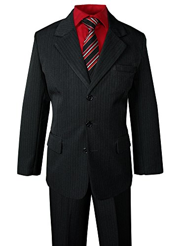 Spring Notion Big Boys' Pinstripe Suit Set Black-Red Stripes 8 by Spring Notion