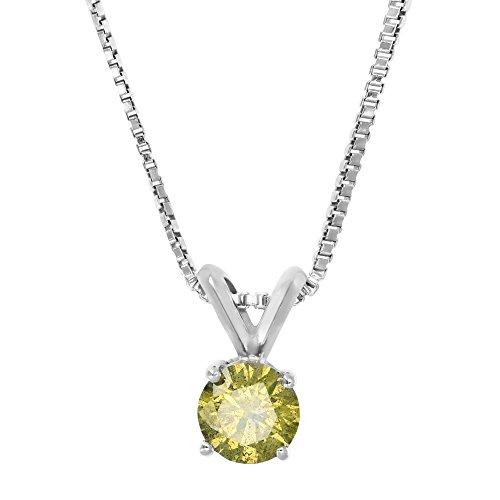 1/2 CT Yellow Diamond Solitaire Pendant 14K White Gold