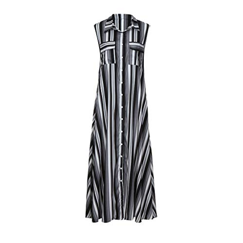 Sanyyanlsy Women's Plus Size Rainbow Color Striped Button Turn-Down Neck Sleeveless Pocket Floor-Length Dress Beach ()