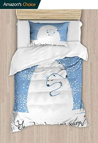 (Animal Kids Quilt 2 Piece Bedding Set, Mother Polar Bear Hugging Her Baby in the Snow North Winter Love Valentines Art, with Sham and Decorative 1 Pillows, Full Queen,71 W x 79 L Inches, Blue White)