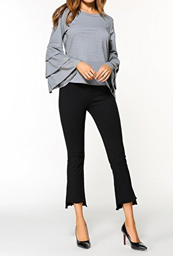 Pulls Casual Printemps Gris Tee Sleeve T Shirts Col Rond Mode Couleur Tops et Flare Femmes Sweat Slim Automne Hauts Chemisiers Blouse Shirts Unie TwCIgwAq