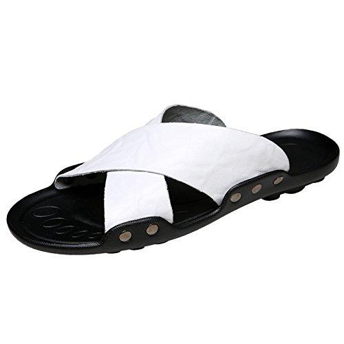 Xing Lin Sandalias De Hombre Los Hombres Zapatillas De Hombres Marea Antideslizante Sandalias De Playa 4728 Extra Grandes Zapatos Zapatos De Hombre Zapatillas De Verano Al Aire Libre, 38,333 Blanco