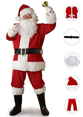 Deluxe Luxury Santa Suit - KOESON Santa Claus Cosplay Adult Suit Deluxe Velvet Christmas Outfit Regular Size Costume Suit, 5 Pieces Red