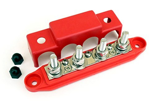 "Bay Marine BusBar - 4-Post Power Distribution Block - 3/8"" Red"