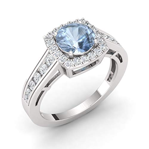 Diamondere Natural and Certified Aquamarine and Diamond Engagement Ring in 14K White Gold | 1.35 Carat Halo Ring for Women, US Size 7.5 ()