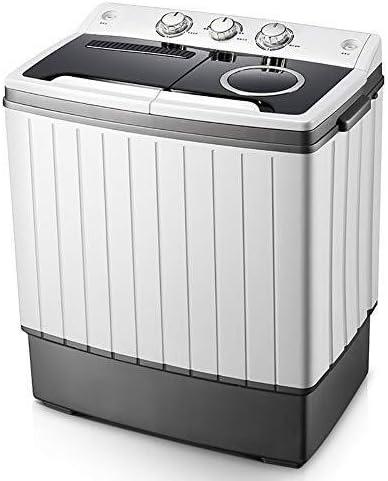 QUZHCP lavadora portátil, Máquina Doble Cuba De Lavado Con Lavado Y Centrifugado Del Ciclo De Compartimentos, Se Lava 3 Kg Y 2,5 Kg Capacidad De Secado, Mini Compacto Y Portátil De Tamaño, Ahorro De E