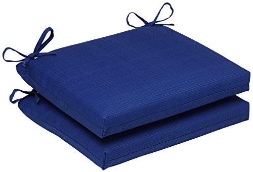 16in Blue Seat (Pillow Perfect Outdoor/Indoor Squared Seat Cushion, 18.5 in. x 16 in, Fresco Blue, Set of 2)
