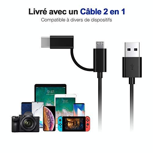 IEsafy Batterie Externe Petite 10000mah avec Câble Intégré Entrée USB C et Micro Mini Power Bank pour Samsung, Huawei, Xiaomi, Vivo, Oppo, Iphone, Wiko, Etc.