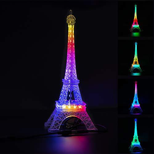 BTF-LIGHTING USB 5V Romance Eiffel Tower Built-in Color Changing Night Light 9.8inch 48 LED WS2812B RGB Mini Night Light Desk Table Lamp Birthday Gift Dream Color
