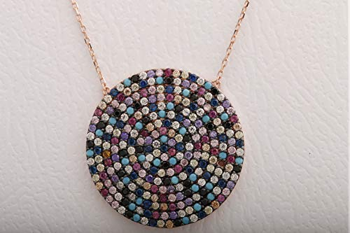 Fashion Design! Turkish Handmade Jewelry Round Cut Turquoise Pink Ruby Emerald Black Onyx Sapphire Citrine White Topaz 925 Sterling Silver Rose Gold ()