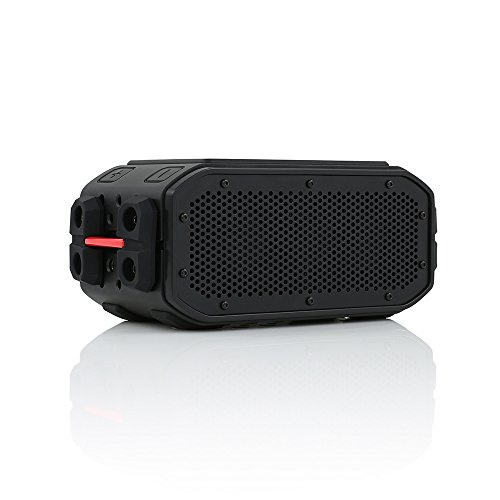 BRAVEN BRV-PRO Portable Wireless Bluetooth Speaker [30 Hours][Waterproof] Built-in 2200 mAh Power Bank Charger - Black/Red (Consumer Reports Best Solar Panels)