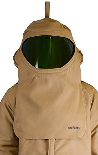 National Safety Apparel H65LIQTFAN40 ArcGuard Arc Flash CrossVent Hood with Hard Hat and Internal Fans, 40 Calorie, One Size, Khaki by National Safety Apparel Inc