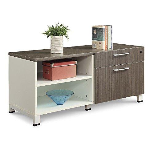 Modern Mobile Storage Credenza Dark Olive Wood/Aluminum Frame Dimensions: 55.375
