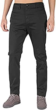 THE AWOKEN Mens Classic Chinos Slim Fit Golf Dress Business Stretch Chino Pants 5 Pockets Pants
