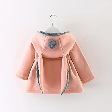 Fashion Baby Girls Winter Coat for 0-2 Years,Solid Contracted Thick Jacket Coat Cloak with Rabbit Ear Hooded