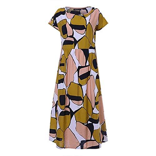 YY1950s Women's Round Neck Print Casual Bohemian Short-Sleeved Summer T-Shirt Straight Skirt Dress (Multicolor, L)