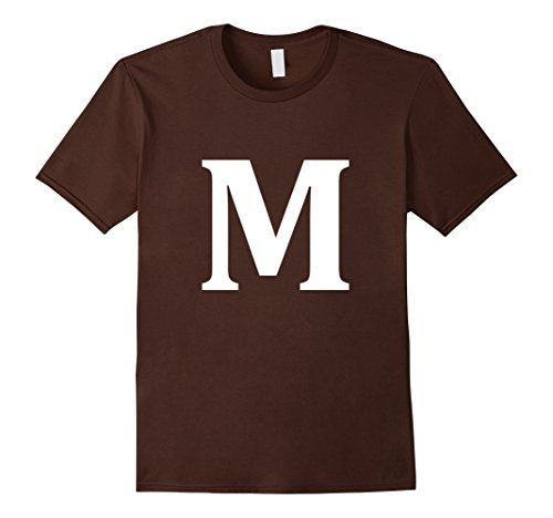 Mens Letter M shirt Halloween Costume tshirt Big M Alphabet candy Large Brown
