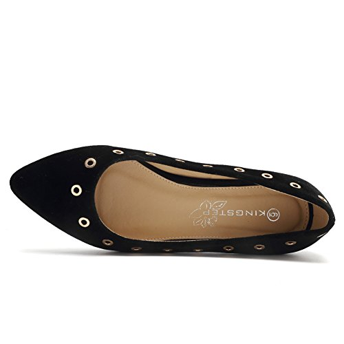 CIOR Shoes Womens Fashion Ballet decoration Black Slip Fashion Pointy Toe metal Flats On HfqrHPZ