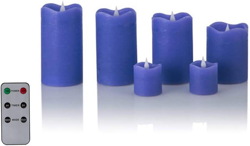 6er Beere Fernbedienung und Timer 6 LED Echtwachskerzen mit t/äuschend echter Flamme /& Docht