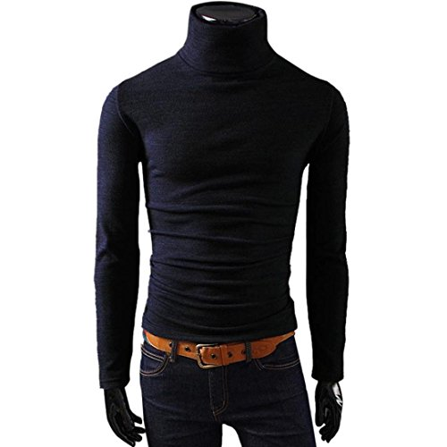 Men's Sweater Slim Fit Long Sleeve Tops Skivvies Warm High Neck Cotton Blend Blouse (XXL, Black)