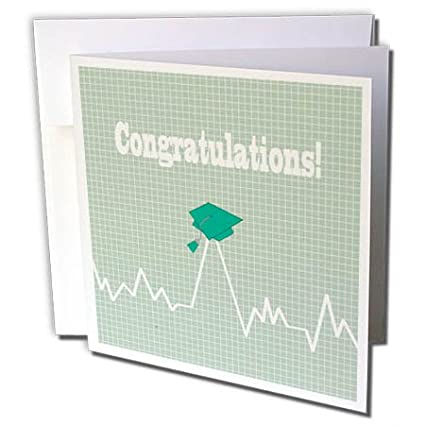 3dRose Greeting Card Heart Beat With Grad Cap On Graph