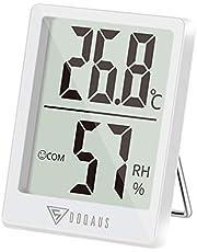DOQAUS Inomhustermometer, Digital Rumstermometer Termohygrometer, Fuktighetsmätare, Mini Termometer Fuktighets Monitormed Hög Noggrannhet för Rums, Klimatkontroll, Babyrum, Vardagsrum, Kontor(Vit)