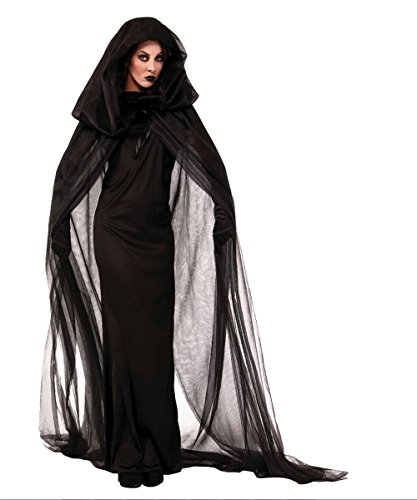 DoLoveY Women's The Haunted Scary Devil Ghost Witch Cosplay Halloween Costume Long Dress Robe Black