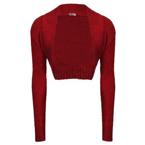 Cárdigan bolero de manga larga para mujer, de punto (tallas 34 - 40) Rojo