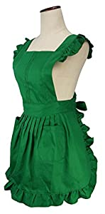 LilMents Retro Adjustable Ruffle Apron Kitchen Cooking Baking Cleaning Maid Costume