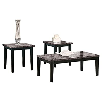 Ashley Furniture Signature Design - Theo Faux Marble Top Occasional Table Set - Contains Cocktail Table & 2 End Tables - Contemporary - Warm Brown