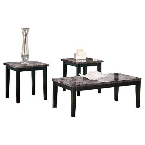 Furniture Marble Top - Ashley Furniture Signature Design - Maysville Faux Marble Top Occasional Table Set - Contains Cocktail Table & 2 End Tables - Contemporary - Black