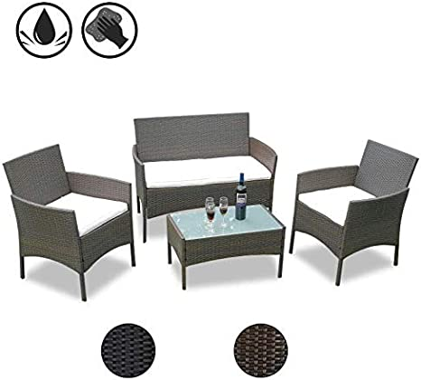 Hengda Conjunto Muebles de jardín Muebles Ratán Juego para Terraza ...